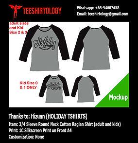 Silkscreen Printin of Holiday Raglan Cotton Shirt