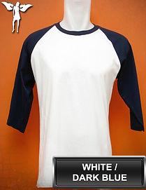 Raglan White/Dark Blue T-Shirt, kaos raglan putih/biru tua