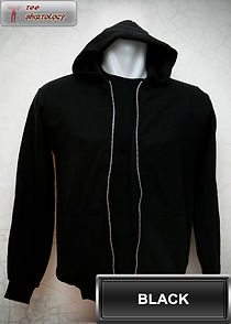 Black Hooded Sweater, sweater hoodie hitam half zipper
