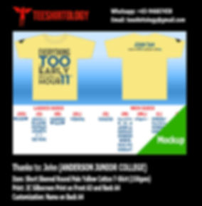 Anderson Junior College Class Screenprinted Yellow Cotton T-Shirt with Custom Name