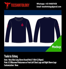 One Color Silkscreen Print of Navy Long Sleeve Cotton T-Shirt