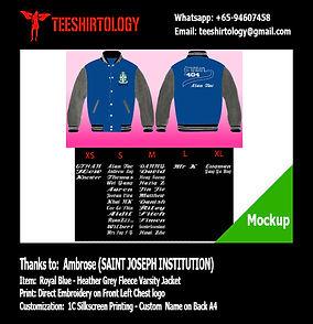 SJI Saint Joseph Instituton Blue Fleece Varsity Jacket Embroidery with Silkscreen Custom Name