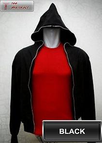 Black Hooded Sweater, sweater hoodie hitam full zipper