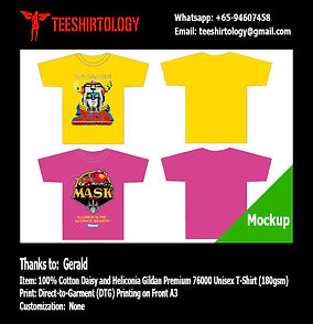 DTG A3 Print of Daisy and Heliconia Cotton Gildan Premium 76000 T-Shirt