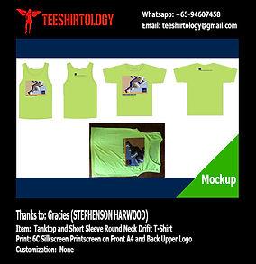 Stephenson Harwood Screenprinted Green Drifit Tanktop and T-Shirt