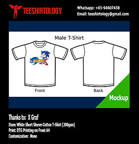 DTG A4 Print of Sonic Hedgehog White Cotton T-Shirt