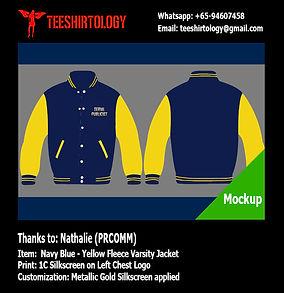 PRCOMM Gold Screenprint of NavyBlue Fleece Varsity Jacket