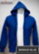 Benhur Blue Hooded Sweater, sweater hoodie biru benhur half zipper