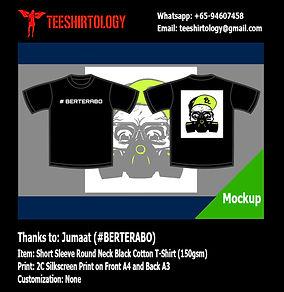 Berterabo Silkscreen Printing of Black Cotton T-Shirt