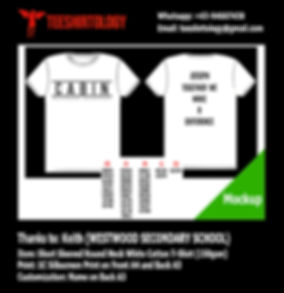 Westwood Secondary School Silkscreen Printed White Cotton T-Shirt with Custom Name