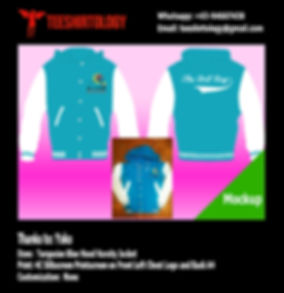 Blue Turquoise Hood Varsity Jacket Silkscreen