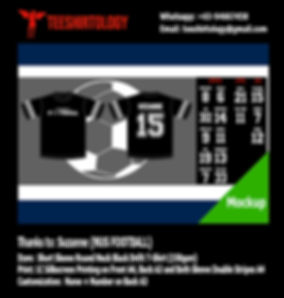 NUS Football Black Drifit T-Shirt Silkscreen Print with Custom Name and Number