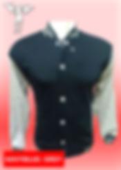 Digital Printing, Silkscreen Printing, Embroidery, Navy Blue Misty Grey Baseball Jacket, Navy Blue Misty Grey Fleece Varsity Jacket