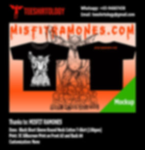 Misfit Ramones Heavy Metal Band Screenprinted Black Cotton T-Shirt