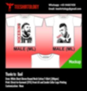 AC Milan White Cotton T-Shirt DTG Printing