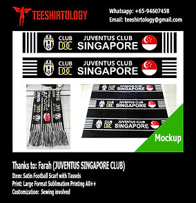 Juventus Singapore Printed Satin Scarf with Arcylic Tassels