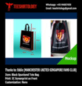 three color printscreen of Manchester United Singapore spunbond totebag