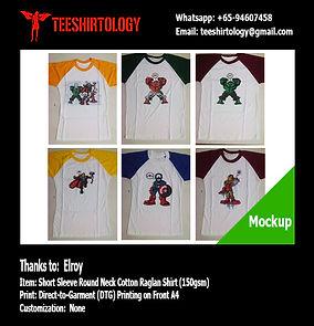 Superheroes Cotton Raglan Shirt DTG A4 Print