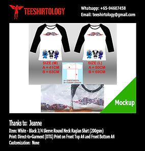 Cartoon 3/4 Sleeve Cotton Raglan Shirt DTG Printing
