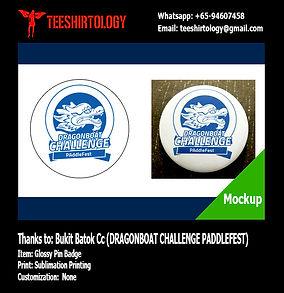 Bukit Batok Dragonboat Challenge Paddlefest Glossy Pin Badge