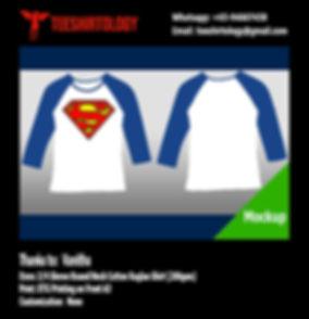 Superman 3/4 Sleeve White Cotton Raglan Shirt DTG Printing