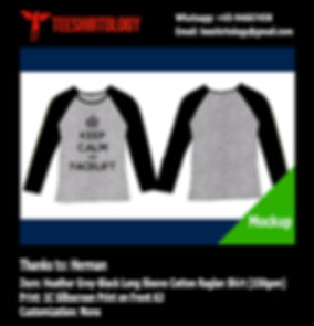 Silkscreen Print of Long Sleeve Cotton Raglan T-Shirt