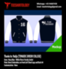 Temasek JC Navy Blue Varsity Jacket Embroidery