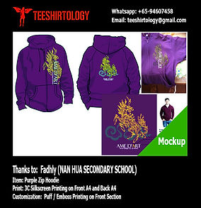 Puff Silkscreen Print of Nan Hua Class Fleece Purple Zip Hoodie