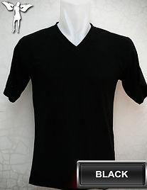 Black v-neck t-shirt, kaos hitam