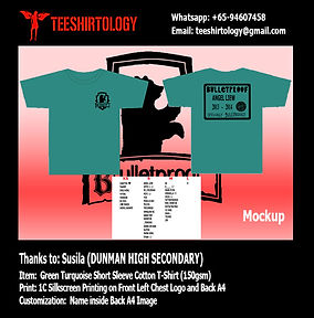 Dunman High Green Turquoise Cotton Class T-Shirt Silkscreen Print with Custom Name