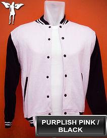 Purplish Pink/Black Varsity Jacket, baseball jacket, college jacket