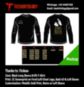 two color printscreen of long sleeve drifit tshirt with gold custom name