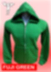 Digital Printing, Silkscreen Printing, Embroidery, Fuji Green Zipped Hoodie, Fuji Green Fleece Zipped Hoodie