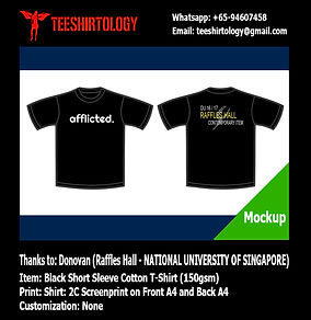 two color printing of NUS Raffles Hall Black Cotton T-Shirt