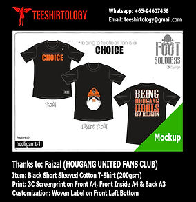 three color silkscreen print of Hougang United T-Shirt