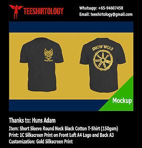 Gold Screenprint of Black Cotton T-Shirt