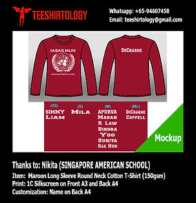 singapore american school maroon cotton long sleeve tshirt screenprinting with custom name