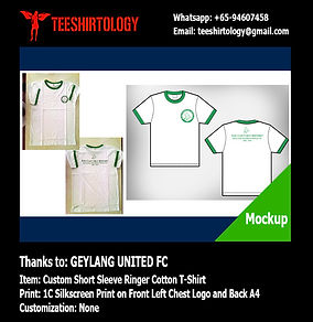 one color silkscreen print of Geylang United Ringer T-Shirt