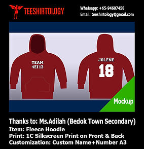 screenprint of Bedok Town class zip hoodie