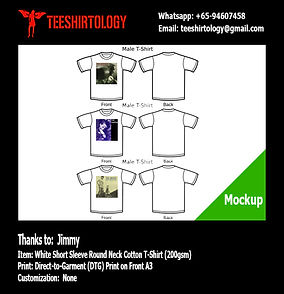 DTG A3 Print of White Cotton T-Shirt