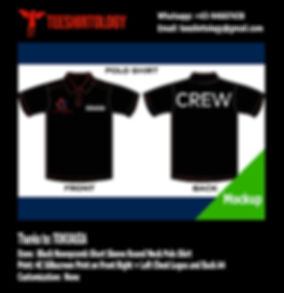 TokuAsia Crew Black Honeycomb Cotton Polo Shirt Screenprinting