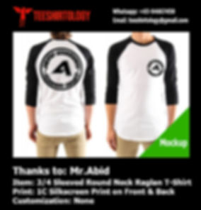 Mockup of one color silkcreen print of round neck raglan tshirt