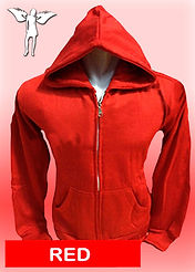 Digital Printing, Silkscreen Printing, Embroidery, Red Zipped Hoodie, Red Fleece Zipped Hoodie