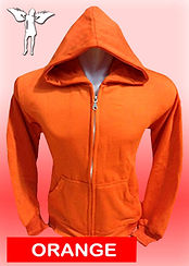 Digital Printing, Silkscreen Printing, Embroidery, Orange Zipped Hoodie, Orange Fleece Zipped Hoodie