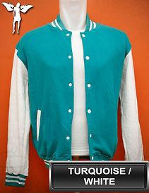 Turquoise/White Varsity Jacket, baseball jacket, college jacket