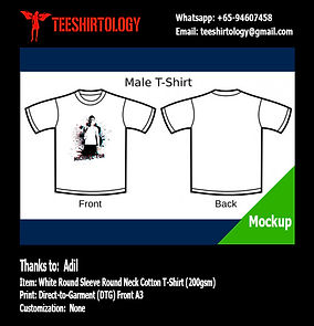 DTG Print A3 of White Cotton T-Shirt