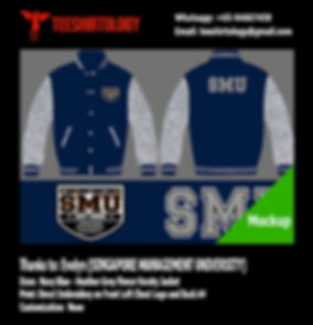 SMU Singapore Management University Navy Blue Fleece Varsity Jacket Embroidery
