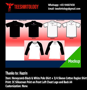 Screenprinting of Company Honeycomb Cotton Polo and Cotton Raglan Shirts