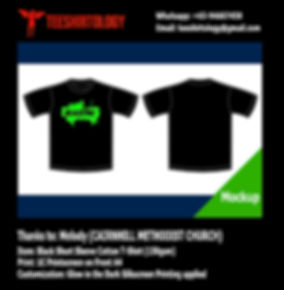 Cairnhill Methodist Church Glow in the Dark Silkscreen Print of Black Cotton T-Shirt