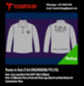 THG Engineering Long Sleeve Grey Drifit Polo Shirt Silkscreen Printing